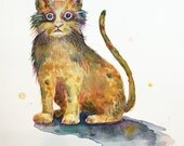 Day 26 - Signed Print - Daily Watercolor - Scaredy-Cat Painting  -  One of 366 days of watercolor paintings and/or ink drawings