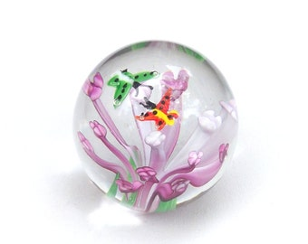 Vintage Blown Glass Paperweight, Office Decor, Round Paperweight, Desk Accessory, Butterfly Decor, Floral Paperweight, Large PaperWeight