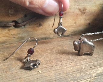 Vintage signed sterling silver buffalo pendant and earring set, 925 bison necklace earrings, Native inspired silver buffalo bison jewelry