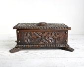 Carved Wooden Box, Wood Box, Wood Jewelry Box, Trinket Storage
