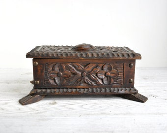 Carved Wooden Box, Wood Box, Wood Jewelry Box, Trinket Storage