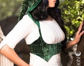 NEW: The Crushed Velvet Underbust Vest/Harness w/DETACHABLE Pixie Hood in Emerald Green by Opal Moon Designs (Size S-XXL)