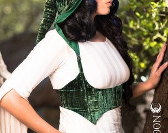 The Crushed Velvet Underbust Vest/Harness w/DETACHABLE Pixie Hood in Emerald Green by Opal Moon Designs (Size S-XL)