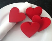 Red Heart Napkin Rings -Valentine's Day -  Wooden - Set of 4