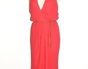 HALSTON Vintage Wrap Dress Bright Red Deep V Halter - AUTHENTIC -