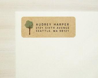 Return Address Labels - Tree Labels, Custom Printed Labels, Personalized Labels, Baby Shower Labels, Kraft Labels, Housewarming Gift