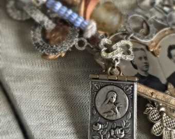 memories of st. therese - vintage assemblage necklace antique souvenir book locket african trade beads rhinestones rubies, the french circus
