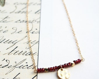 Beaded Necklace, Garnet Necklace, Summer Jewelry