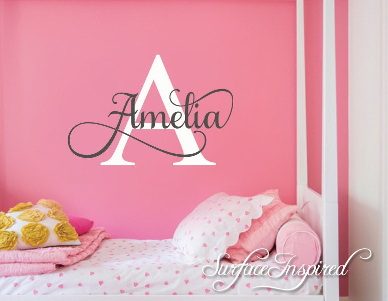 nursery wall decal personalized names wall decals for kids. Black Bedroom Furniture Sets. Home Design Ideas