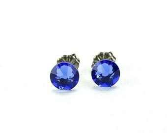 Titanium Stud Earrings Blue Sapphire Swarovski Crystal on Titanium Posts for Sensitive Ears, Hypoallergenic Nickel Free Jewelry