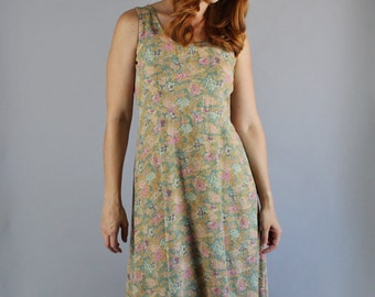 Vintage 90s Women's Sage Green Floral Print Boho Maxi Summer Sleeveless Wedding Guest Casual Day Dress