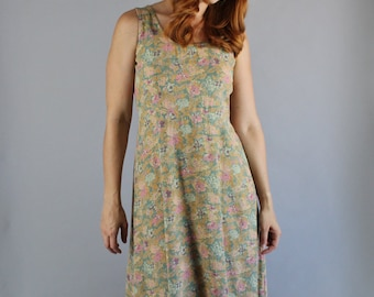 FREE SHIPPING Summer Dress, Floral, 90s Sleeveless, Grunge, Festival, Spring Break, Long Dress, Garden, Wedding Guest, Boho, Size Medium