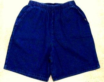 Blue Jean Shorts, Chic Dark Blue Denim Shorts, Elastic Waist, Two Pocket Shorts