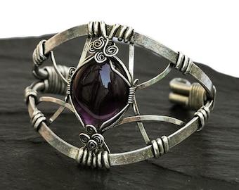 Amethyst Bracelet, Silver Cuff Bracelet, Silver Bracelet, Amethyst Cuff Bracelet, Chunky Bracelet, Gemstone Bracelet, Boho Bracelet
