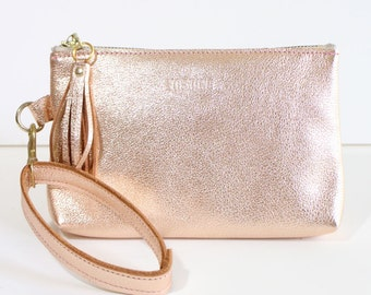 Leather Zipper Pouch / Clutch bag / Purse Clutch / Makeup Pouch with Strap Handle and Tassel charm - Gold Pink