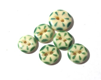 China Stencil Buttons VINTAGE Six (6) Green White Cream China Buttons Stencils Vintage Jewelry Sewing Costume Mosaic Supplies (A44)