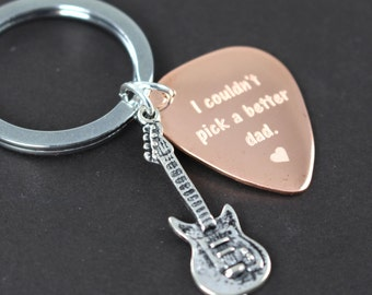 Custom Guitar Pick Keychain for Dad, Custom Engraved Gift for Dad, Unique Gift Idea
