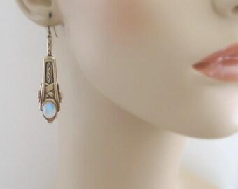Art Deco Earrings - Vintage Earrings - Opal Earrings - Brass Jewelry - handmade jewelry