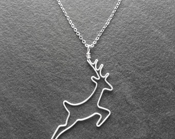 Deer Necklace - Silver Deer Pendant, Stag Pendant