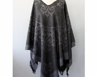 Bohemian cape Charcoal grey poncho Winter fashion Boho chic poncho Native cape Women clothings Hippie outerwear Vegan poncho