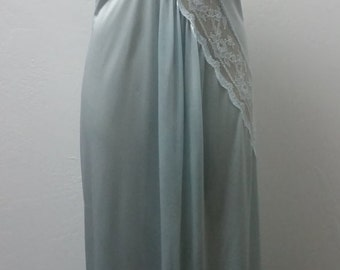 1970s Long Negligee Nightgown, Baby Blue, Lace Accents, Size 32/34 Bust, #60113