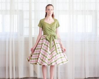 Vintage 1950s Party Dress - Gingham 50s Dress - Favorite Child Dress