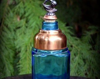 Vintage Blue Copper Glass Apothecary Bottle - perfect to hold that special bath or spell oil.