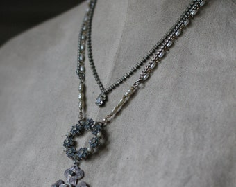 Blue Lilacs~ vintage assemblage necklace blue rhinestone flowers cross crowned by grace