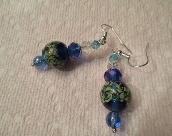 blue, green, gold lampwork bead pierced earrings