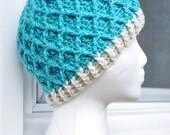 Crochet Lattice Hat - Light Blue