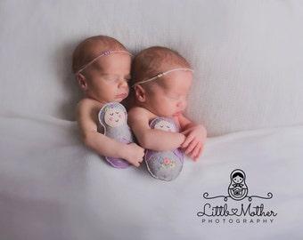 Newborn Twin Tiebacks, Twin Tieback Set, Newborn Headband, Pearl Tieback, Lavender Tieback, Ivory Tieback, Simple Tieback, Dainty Tieback