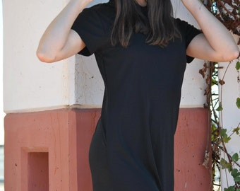 Vintage Hooded Dress 90s Black Jersey Hooded Maxi Dress LBD Long Dress M L