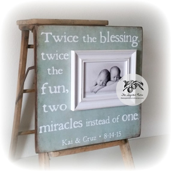 Gift For Twins, Personalized Twins Gift, Twice The Blessing, Twice The Fun, Two Miracles Instead Of One 16x16 The Sugared Plums Frames