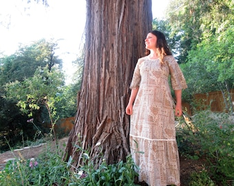 70s maxi dress Two Potato Laguna Beach brown and white calico