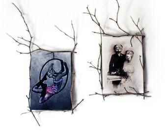 Whimsical animal postcard set, mini art prints, bird girl, batty drinking card, elephants in love, vintage dog wedding