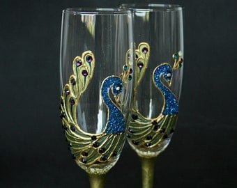 Peacock Champagne Glasses, Champagne Flutes, Peacock Wedding, Hand Painted, Set of 2