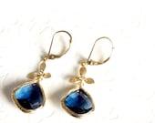 Sapphire earrings / Sapphire dangle earrings, leverback earrings, Gold and sapphire earrings, Chandelier earrings, bridesmaid gift, mom gift