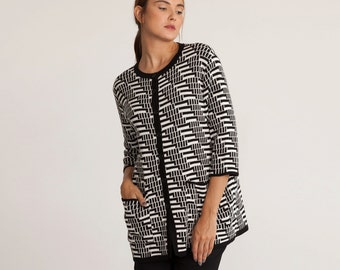 Winter cardigan, knitted retro chic, open sweater, black and white womens jacket, jacquard knitted sweater, buttoned down cardigan