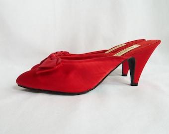 90s Red Satin Heels - Victoria's Secret - Boudoir Slippers - Vintage 1990s Shoes - 7 7 1/2 7.5 8