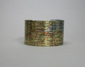 Unique Wedding Gifts Glasgow : Glasgow Scotland Cuff Bracelet Vintage Map City Jewelry Unique Gift ...