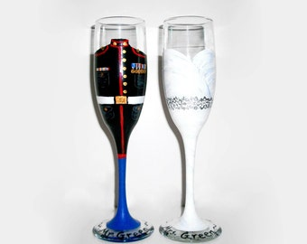Marine Uniform and Wedding Dress Set of 2 / 6 oz. Champagne Flutes Bride and Groom Marine Army, Navy, Air force Uniform Hand Painted Glasses
