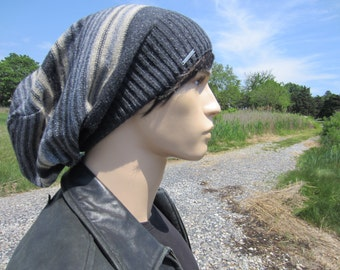 Big Oversized Tam Slouchy Beanie Men's Bohemian Clothing Cotton Wool Saggy Back Slouch Hat Striped Charcoal Gray Baggy Extra Long A1575
