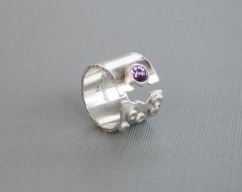 Silver Amethyst Wide Band Open Adjustable Design Modern Art Jewelry