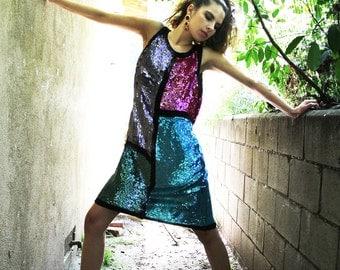 Sequin Dress Vintage COLOR BLOCK Silk Beaded FLAPPER Beaded Dress // Vintage Clothes by TatiTati Style on Etsy