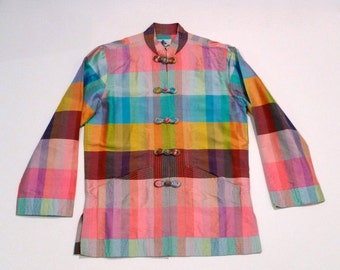 Siamese Trader Thai Silk Tunic top Vintage Plaid Vibrant Jewel Tone Asian Shirt Jacket Rainbow 1960s Mandarin Chinese Top Small Medium