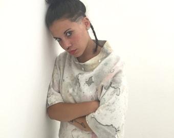 Sweatshirt Painted Watercolor Lola Darling 53/ ARTWORK DRESS by A. LUGLI Exclusive Luxury Spring Handmade in Italy