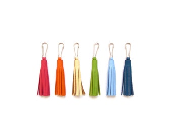 "2"" Leather Tassel | Small Leather Tassel | Zipper Pull | Leather Tassel Charm | Purse Charm |Tassel Key Chain | Grad Gift | Gift Under 20"