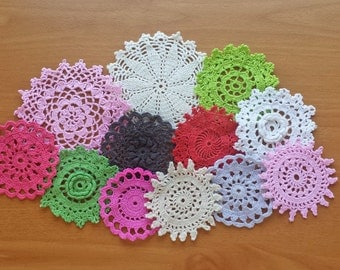 12 Small Craft Doilies, Hand Dyed Vintage Crocheted Doilies, 2 to 4 inch Doilies in Pink, Red, Green, Black, Gray, White and Tan
