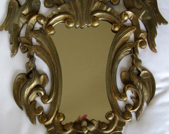 Antique French Solid Bronze Rococo Style Mirror Very Heavy 11 Kilos of Bronze - Fabulous Decorators Piece Winged Griffin Detail