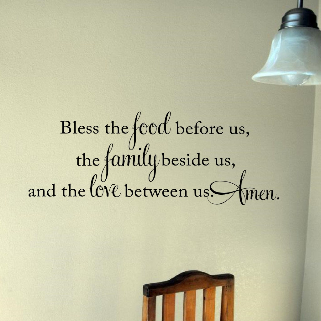 Bless The Food Before Us Wall Decal Vinyl Lettering Wall Words